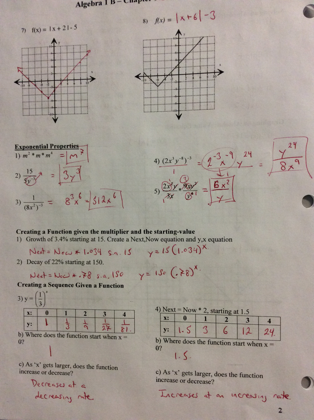 worksheet Exponential Functions Worksheet Algebra 1 alg 1b 9 exponential functions andrew busch summit picture